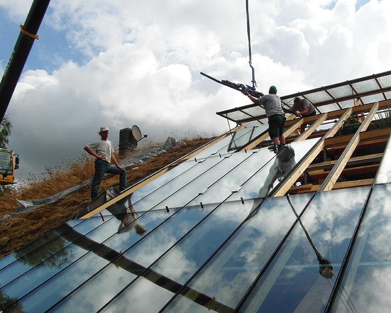 Montage eines Glasdaches